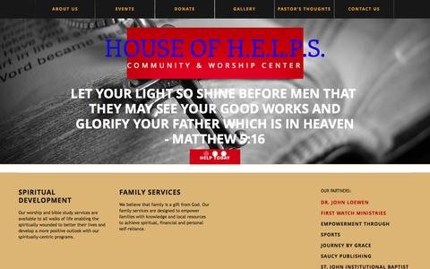Screenshot of Home Page hofhworship.org - House of H.E.L.P.S. | community & worship center - captured Oct. 3, 2014