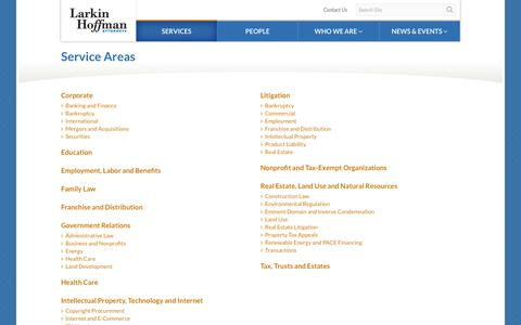 Screenshot of Services Page larkinhoffman.com - Service Areas - captured Dec. 7, 2015