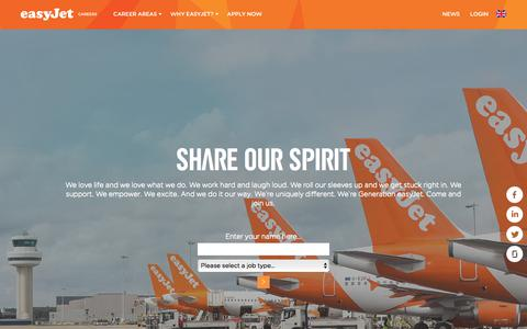 Screenshot of Jobs Page easyjet.com - easyJet Careers | easyJet Careers - captured Sept. 10, 2018