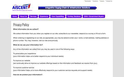 Screenshot of Privacy Page aiscent.com - Privacy Policy   - Aiscent - captured Oct. 4, 2014