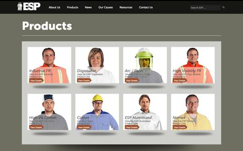 Screenshot of Products Page espbrantford.com - Ontario Safety Equipment - Products -Environmental Safety Products (ESP) - captured Oct. 24, 2018