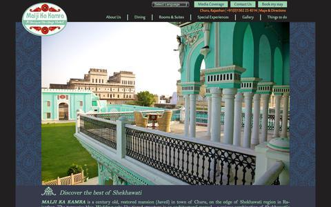 Screenshot of Home Page maljikakamra.com - Malji Ka Kamra - captured Jan. 22, 2016