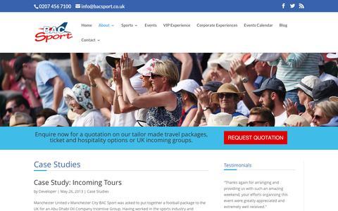 Screenshot of Case Studies Page bacsport.co.uk - BAC Sport - Case Studies - captured Nov. 14, 2016