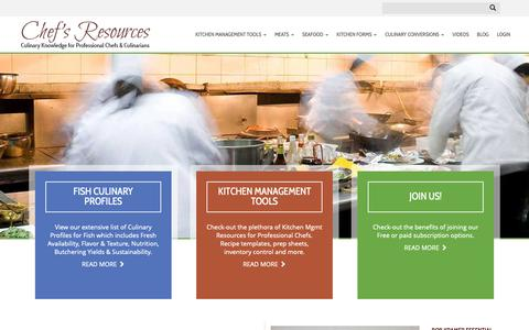 Screenshot of Home Page chefs-resources.com - Culinary Information for Professional Chefs - Chefs Resources - captured Sept. 28, 2018