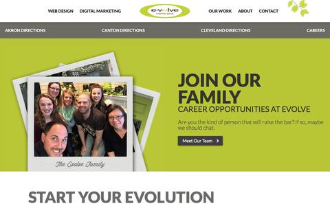 Screenshot of Jobs Page evolvecreativegroup.com - Evolve Careers | Akron, OH Web Design and Online Marketing - captured July 22, 2018