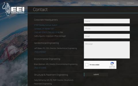 Screenshot of Contact Page eeitiger.com - Contact – EEI - captured Nov. 9, 2016