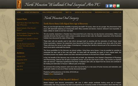 Screenshot of Blog northhoustonoralsurgery.com - Blog Houston TX, North Houston-Woodlands Oral Surgical Arts PC - captured Oct. 26, 2014