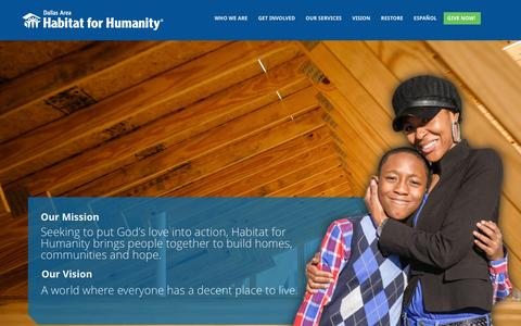 Screenshot of Home Page dallasareahabitat.org - Dallas Area Habitat For Humanity | A world where everyone has a decent place to live. - captured Jan. 21, 2016