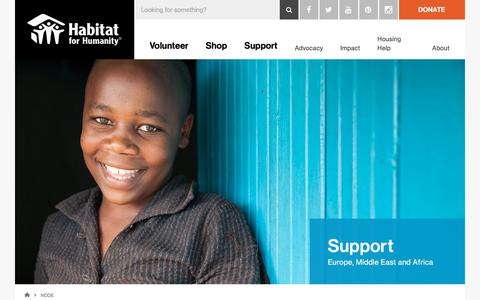 Screenshot of Support Page habitat.org - Support (EMEA) | Habitat for Humanity - captured Aug. 4, 2019