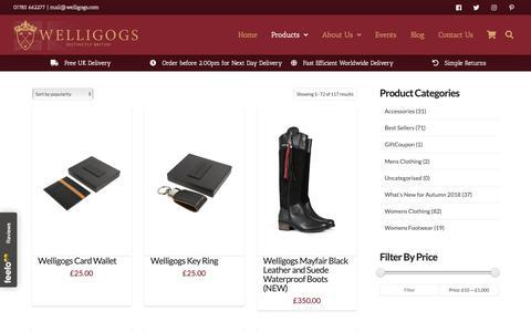 Screenshot of Products Page welligogs.com - Product Catalogue - Welligogs - captured Nov. 18, 2018