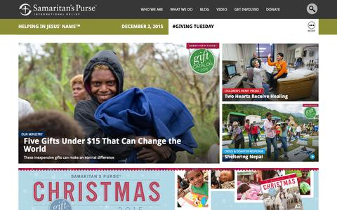 Screenshot of Home Page samaritanspurse.org - Samaritan's Purse — International Relief - captured Dec. 2, 2015