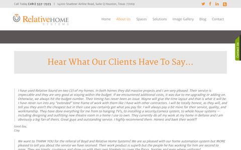 Screenshot of Testimonials Page relativehomesystems.com - Testimonials - captured Oct. 26, 2014