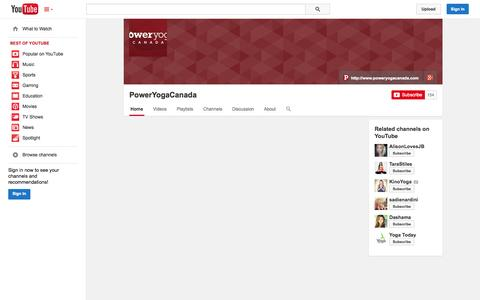 Screenshot of YouTube Page youtube.com - PowerYogaCanada  - YouTube - captured Oct. 23, 2014