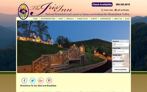 Screenshot of Contact Page Maps & Directions Page irisinn.com - Our Bed and Breakfast near Charlottesville & Staunton VA - captured July 1, 2018