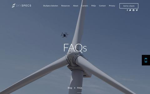Screenshot of FAQ Page skyspecs.com - FAQs - SkySpecs - captured Oct. 19, 2018