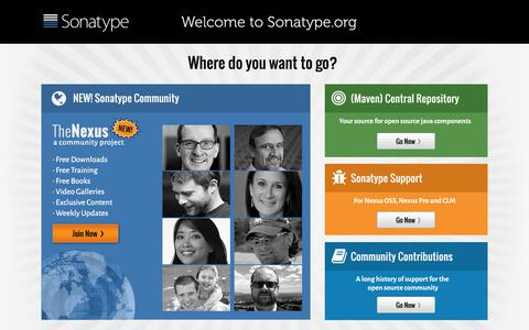 Screenshot of Home Page sonatype.org - Sonatype.org - Welcome - captured Feb. 20, 2018