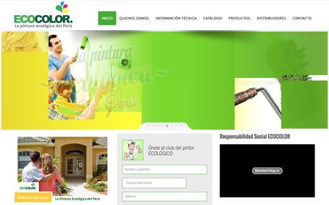 Screenshot of Home Page ecocolor.pe - ECOCOLOR | Pinturas ECOCOLOR - libre de componentes tóxicos; por lo tanto es amigable con el ser humano y el medio ambiente. - captured Jan. 28, 2016