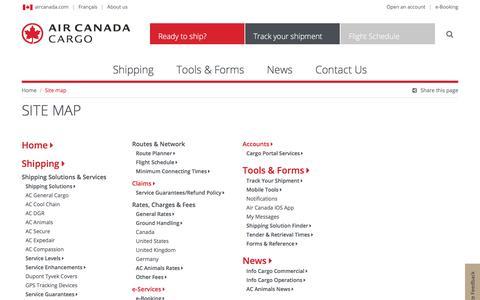 Screenshot of Site Map Page aircanada.com - Site map - Air Canada Cargo - captured April 18, 2018