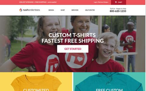 Screenshot of Home Page rushordertees.com - Custom T-Shirts Fast, Design Online, Free Delivery | RushOrderTees.com - captured Oct. 14, 2015