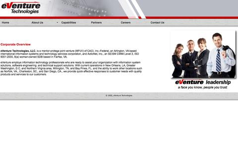 Screenshot of Home Page eventuretec.com - eVenture Technologies - captured Oct. 3, 2014