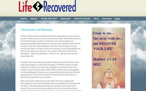 Screenshot of Blog liferecovered.com - blog «  Life Recovered - captured Sept. 30, 2014