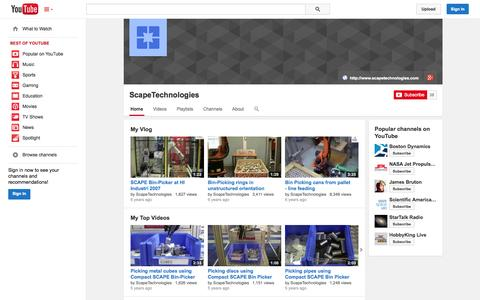 Screenshot of YouTube Page youtube.com - ScapeTechnologies  - YouTube - captured Oct. 23, 2014