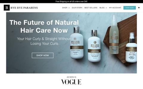 Screenshot of Home Page byebyeparabens.com - Natural Hair Products For Naturally Curly Hair | Bye Bye Parabens - captured Aug. 4, 2018