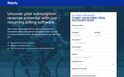 Screenshot of Landing Page rebilly.com - Free Trial - Recurring Billing & Payments Made Easy | Rebilly - captured April 21, 2016
