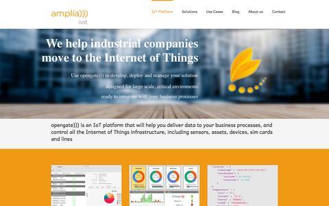 Screenshot of Home Page amplia-iiot.com - Amplia Industrial Internet of Things IoT Platform - Amplia Industrial Internet of Things - captured Sept. 10, 2015