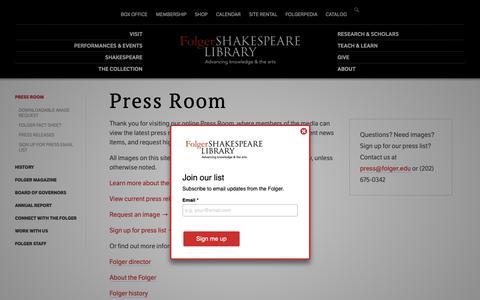 Screenshot of Press Page folger.edu - Press Room | Folger Shakespeare Library - captured Sept. 28, 2018