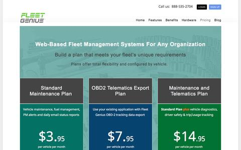 Screenshot of Pricing Page fleet-genius.com - Affordable web based  fleet management and vehicle maintenance software pricing - captured Feb. 1, 2016