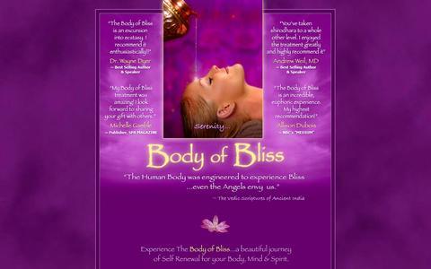 Screenshot of Home Page bodyofbliss.com - The Body of Bliss luxury spa treatment • Shirodhara, spiritual healing energy work, maui massage - captured Sept. 30, 2014