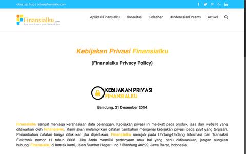 Screenshot of Privacy Page finansialku.com - Kebijakan Privasi Privacy Policy Finansialku - captured Sept. 5, 2016