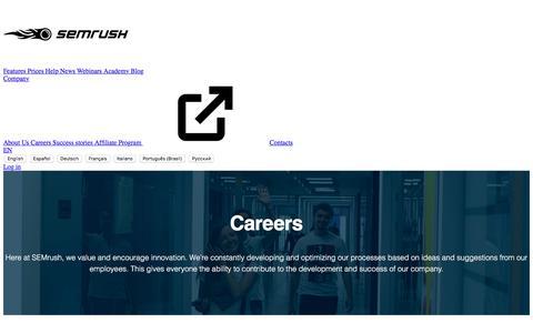 Screenshot of Jobs Page semrush.com - Career | SEMrush - captured April 29, 2018