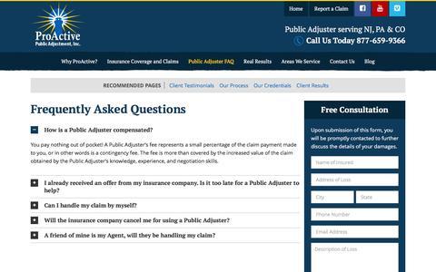 Screenshot of FAQ Page proactiveadjustment.com - Public Adjuster FAQ - Proactive Public Adjustment, Inc. - captured Jan. 31, 2016