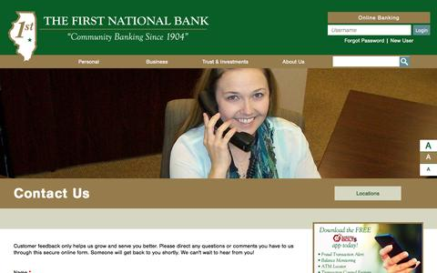 Screenshot of FAQ Page fnbbankingcenters.com - Contact Us - The First National Bank - Mattoon - Lerna - captured Dec. 15, 2016