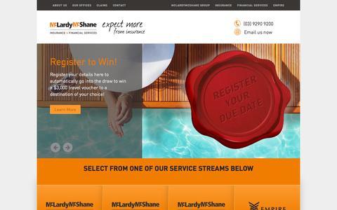 Screenshot of Home Page mclardymcshane.com.au - McLardy Mcshane Insurance & Financial Services - captured Sept. 29, 2015