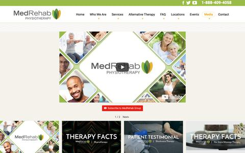 Screenshot of Press Page medrehabgroup.com - Media Library | Therapy Facts | Video Content | Medrehab Group - captured Oct. 17, 2018