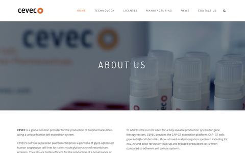 Screenshot of About Page cevec.com - CEVEC is a global solution provider for biopharmaceuticals - captured Dec. 3, 2015