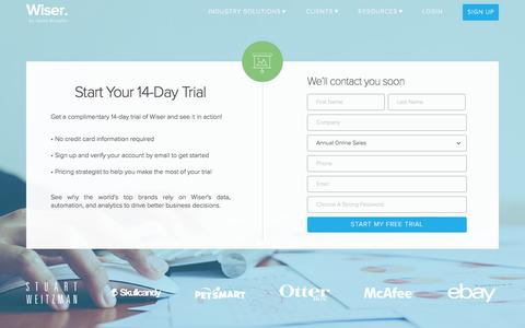 Screenshot of Trial Page wiser.com - Sign Up for a Trial - Wiser, a Quad Analytix company - captured April 3, 2017