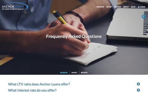 Screenshot of FAQ Page anchorloans.com -   Anchor Loans   Anchor Loans - captured Oct. 8, 2017