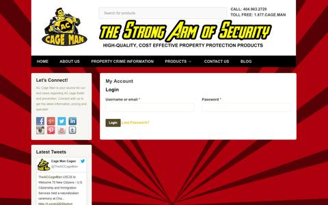 Screenshot of Login Page accageman.com - My Account | A/C Cage Man - captured Sept. 30, 2014
