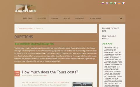 Screenshot of FAQ Page angelfalls.travel - Questions - captured Oct. 4, 2014