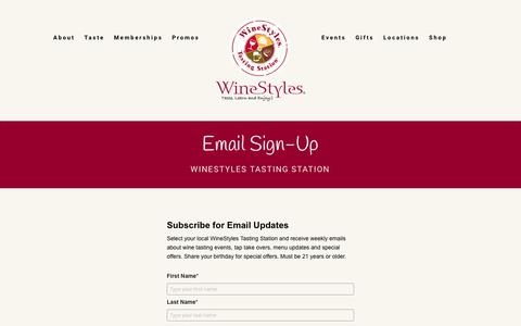 Screenshot of Signup Page winestyles.com - Email Sign-Up - WineStyles - captured Oct. 18, 2018