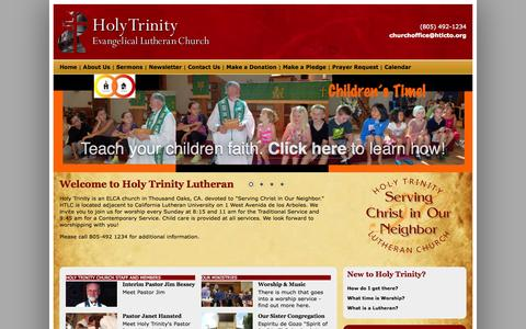 Screenshot of Home Page htlcto.org - Holy Trinity Lutheran Church Thousand Oaks - captured Oct. 3, 2014