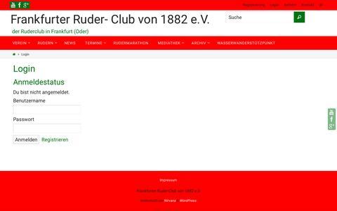 Screenshot of Login Page frcvon1882.de - Login – Frankfurter Ruder- Club von 1882 e.V. - captured June 6, 2016