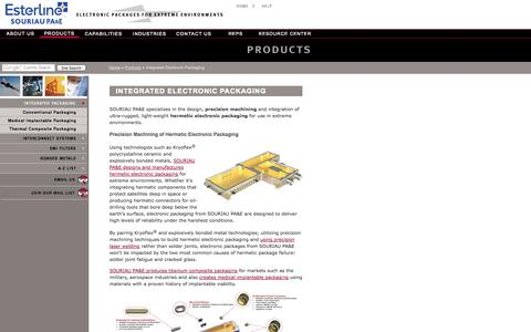 Screenshot of Products Page pacaero.com - Integrated Electronic Packaging - captured Oct. 3, 2014