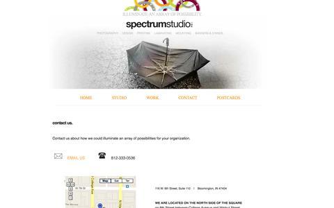Screenshot of Contact Page Maps & Directions Page spectrumstudioinc.com - Spectrum Studio, Inc.  |  Contact |  Bloomington, IN - captured Sept. 30, 2014