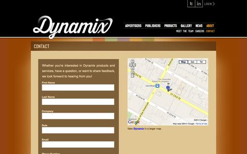 Screenshot of Contact Page dynamix.tv - Contact «  Dynamix - captured Sept. 15, 2014