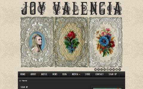 Screenshot of Signup Page joyvalencia.com - Sign Up - - captured June 8, 2018
